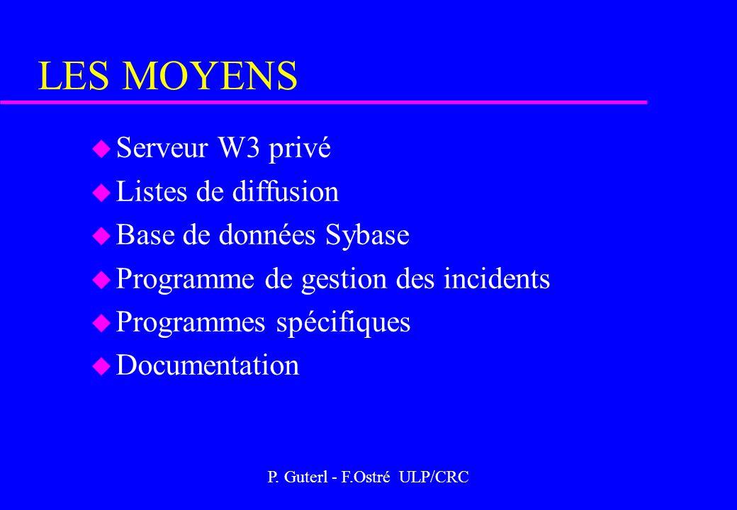 P. Guterl - F.Ostré ULP/CRC LES MOYENS u Serveur W3 privé u Listes de diffusion u Base de données Sybase u Programme de gestion des incidents u Progra