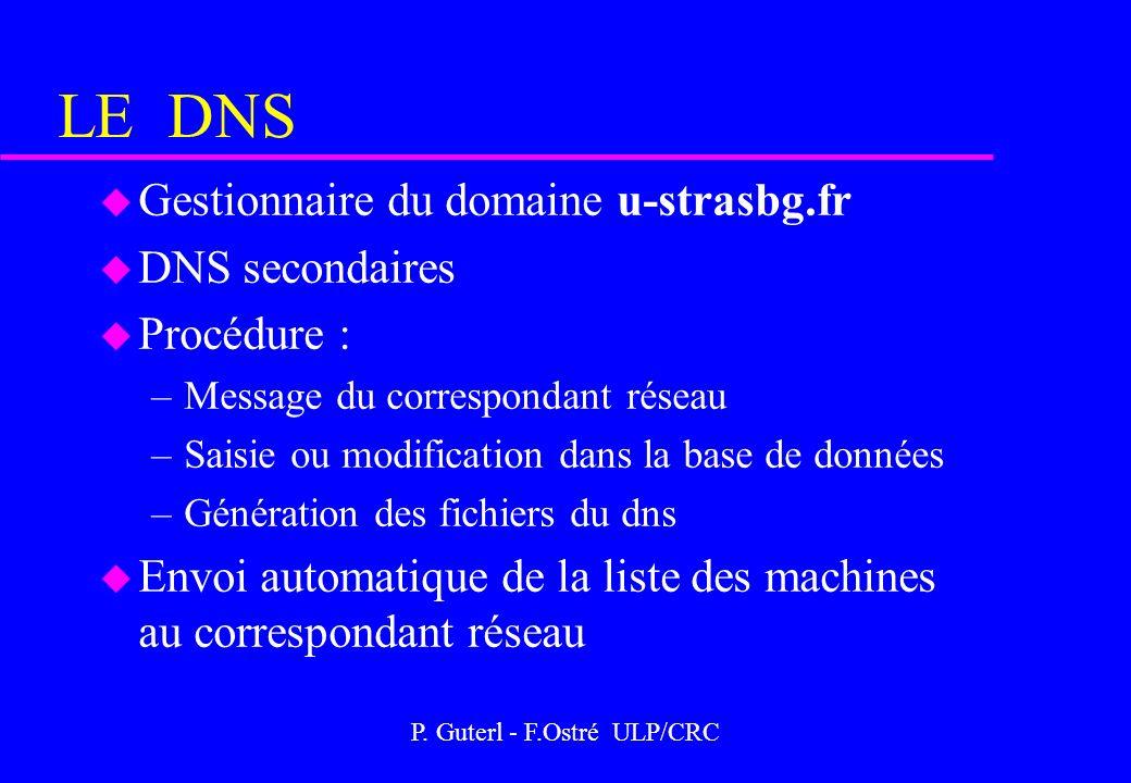 P. Guterl - F.Ostré ULP/CRC LE DNS u Gestionnaire du domaine u-strasbg.fr u DNS secondaires u Procédure : –Message du correspondant réseau –Saisie ou