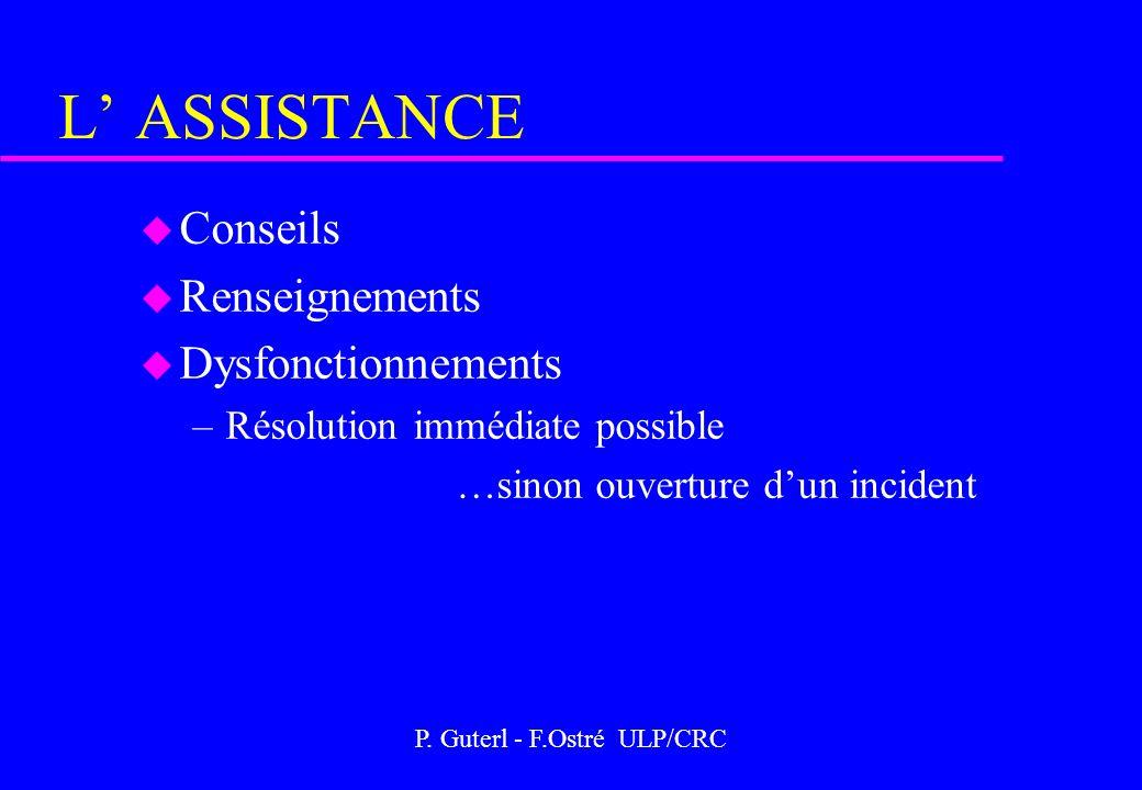 P. Guterl - F.Ostré ULP/CRC L ASSISTANCE u Conseils u Renseignements u Dysfonctionnements –Résolution immédiate possible …sinon ouverture dun incident