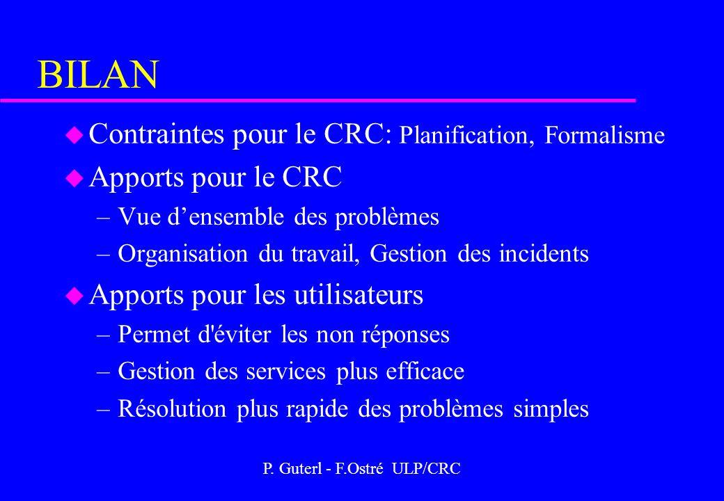 P. Guterl - F.Ostré ULP/CRC BILAN u Contraintes pour le CRC: Planification, Formalisme u Apports pour le CRC –Vue densemble des problèmes –Organisatio