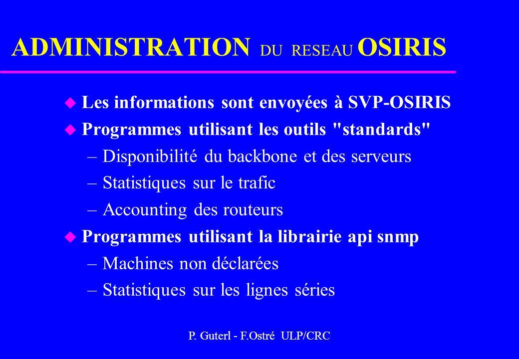 P. Guterl - F.Ostré ULP/CRC ADMINISTRATION DU RESEAU OSIRIS u Les informations sont envoyées à SVP-OSIRIS u Programmes utilisant les outils