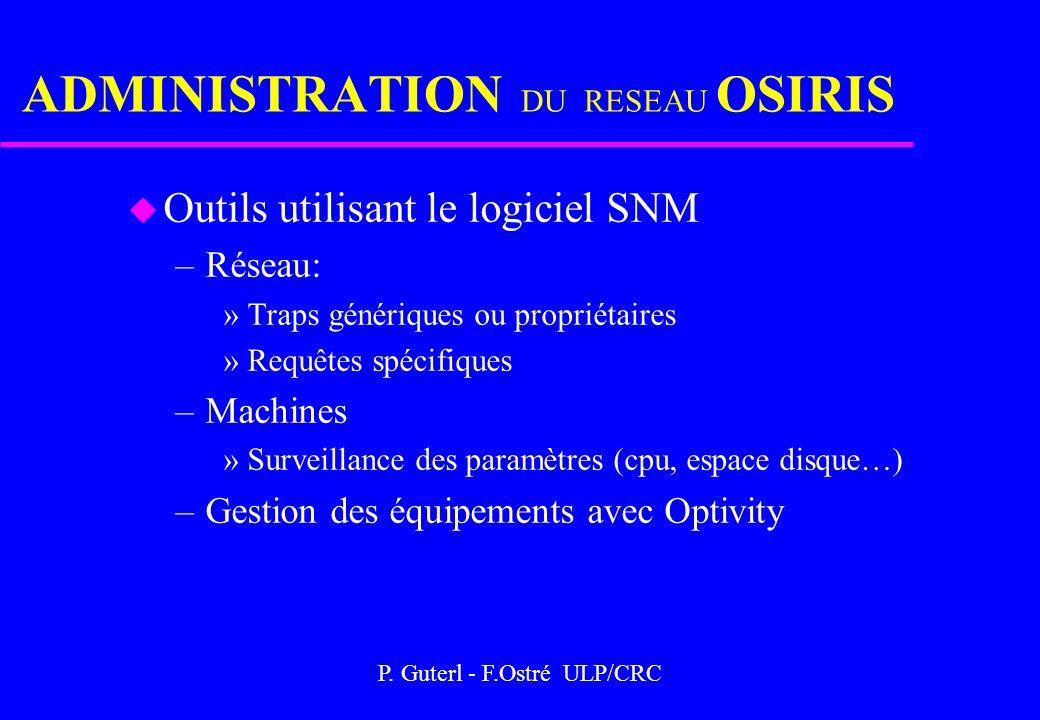 P. Guterl - F.Ostré ULP/CRC ADMINISTRATION DU RESEAU OSIRIS u Outils utilisant le logiciel SNM –Réseau: »Traps génériques ou propriétaires »Requêtes s