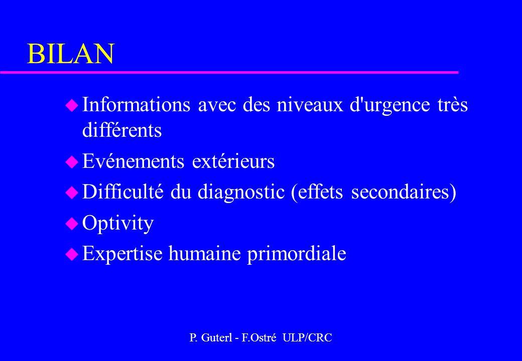 P. Guterl - F.Ostré ULP/CRC BILAN u Informations avec des niveaux d'urgence très différents u Evénements extérieurs u Difficulté du diagnostic (effets