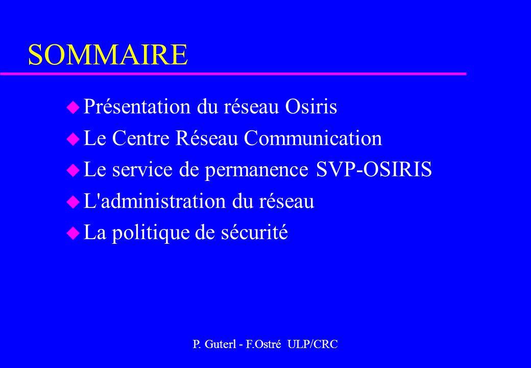 P. Guterl - F.Ostré ULP/CRC SOMMAIRE u Présentation du réseau Osiris u Le Centre Réseau Communication u Le service de permanence SVP-OSIRIS u L'admini