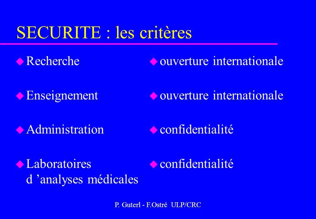 P. Guterl - F.Ostré ULP/CRC SECURITE : les critères u Recherche u Enseignement u Administration u Laboratoires d analyses médicales u ouverture intern