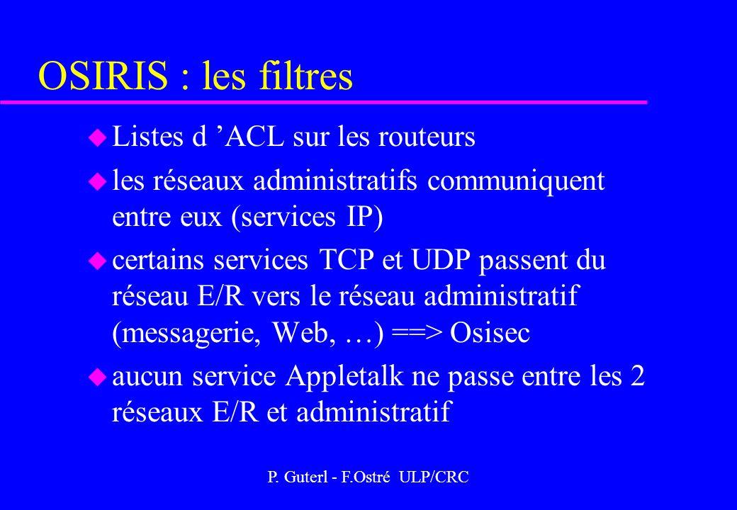 P. Guterl - F.Ostré ULP/CRC OSIRIS : les filtres u Listes d ACL sur les routeurs u les réseaux administratifs communiquent entre eux (services IP) u c