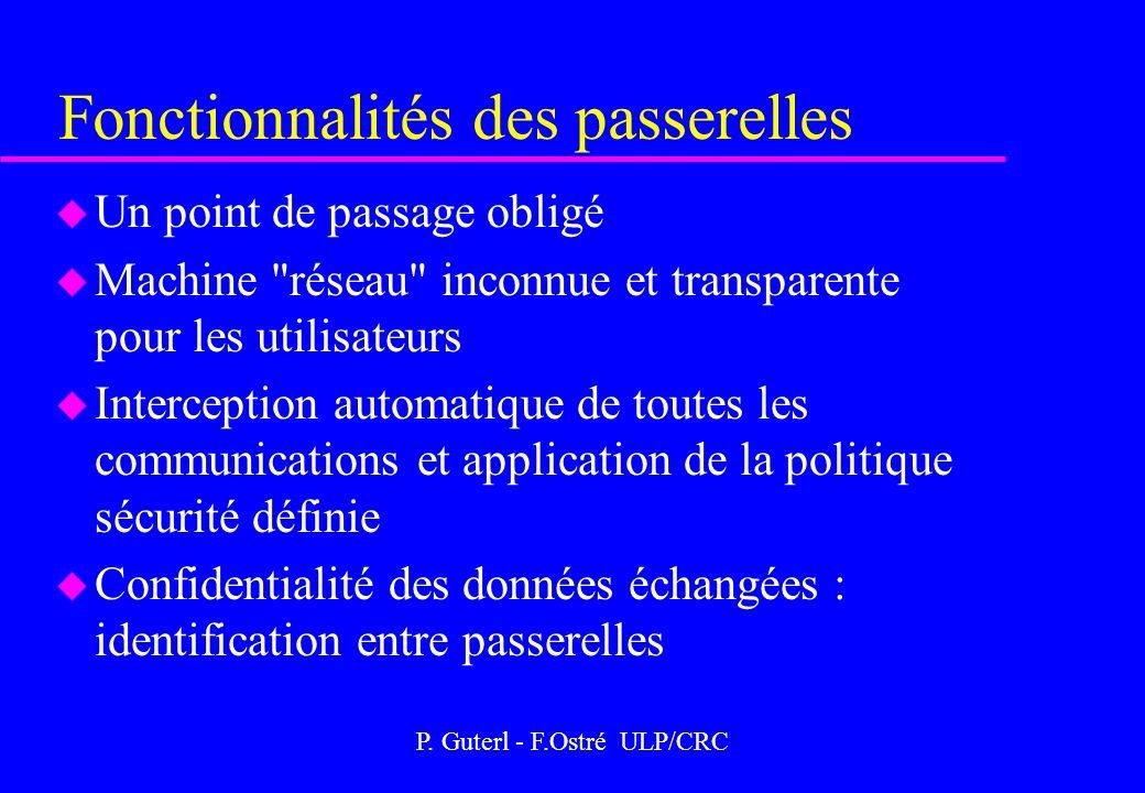 P. Guterl - F.Ostré ULP/CRC Fonctionnalités des passerelles u Un point de passage obligé u Machine