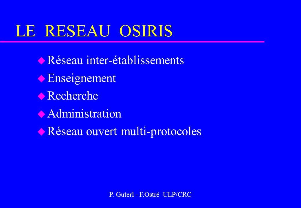 P. Guterl - F.Ostré ULP/CRC LE RESEAU OSIRIS u Réseau inter-établissements u Enseignement u Recherche u Administration u Réseau ouvert multi-protocole