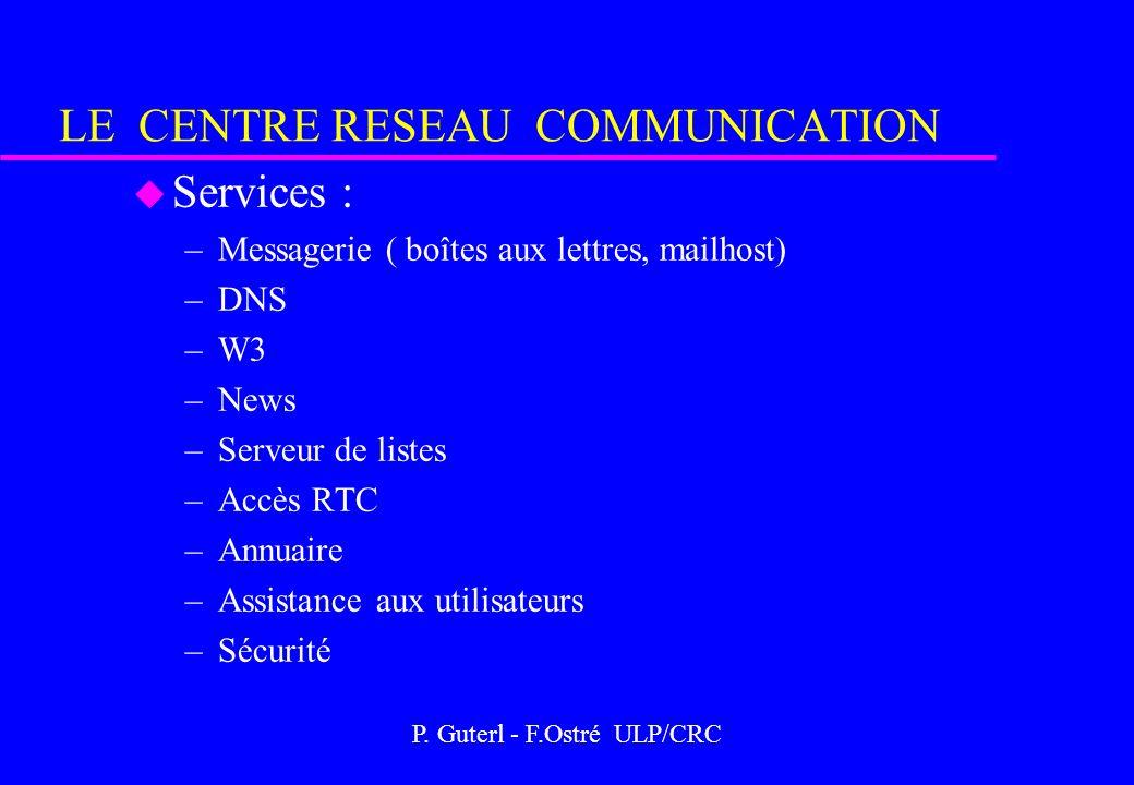 P. Guterl - F.Ostré ULP/CRC LE CENTRE RESEAU COMMUNICATION u Services : –Messagerie ( boîtes aux lettres, mailhost) –DNS –W3 –News –Serveur de listes