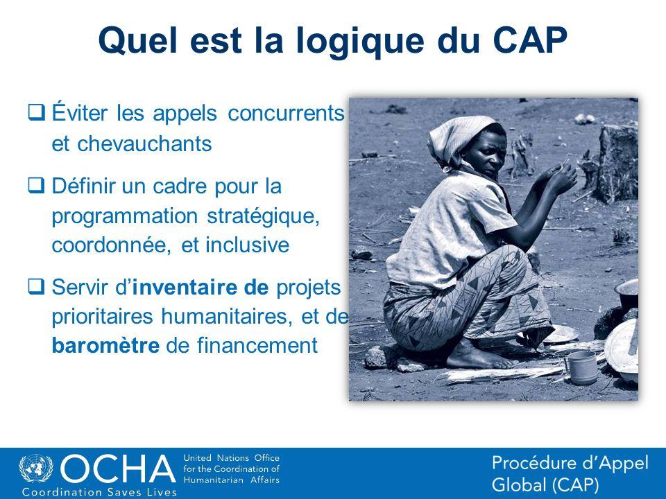 13Office for the Coordination of Humanitarian Affairs (OCHA) CAP (Consolidated Appeal Process) Section Quel est la logique du CAP Éviter les appels co
