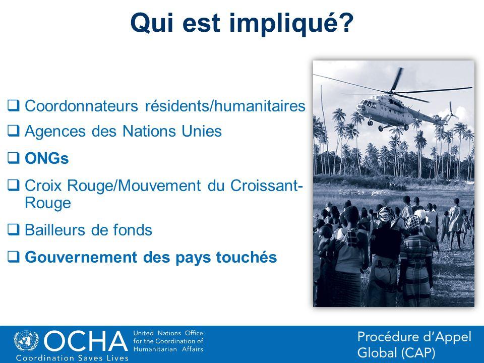 14Office for the Coordination of Humanitarian Affairs (OCHA) CAP (Consolidated Appeal Process) Section Qui est impliqué? Coordonnateurs résidents/huma