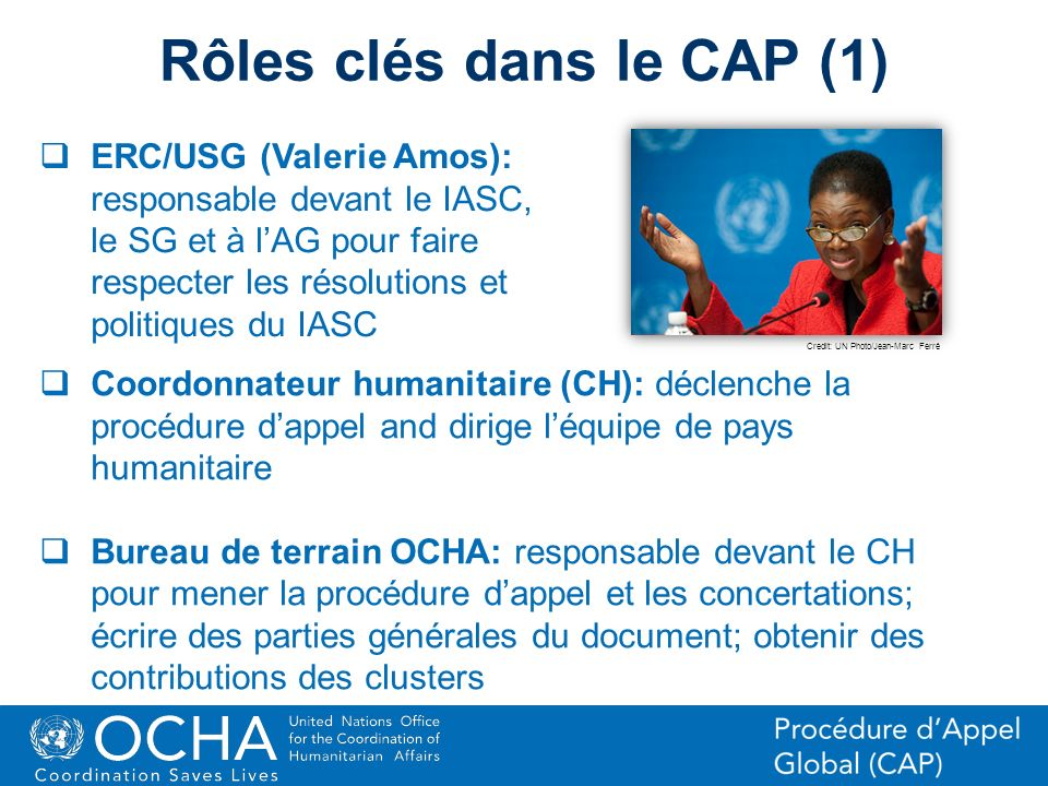 15Office for the Coordination of Humanitarian Affairs (OCHA) CAP (Consolidated Appeal Process) Section ERC/USG (Valerie Amos): responsable devant le I