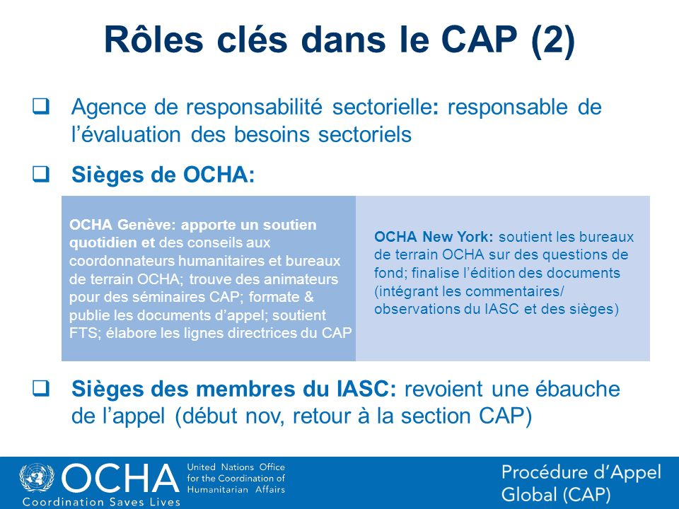 16Office for the Coordination of Humanitarian Affairs (OCHA) CAP (Consolidated Appeal Process) Section Agence de responsabilité sectorielle: responsab
