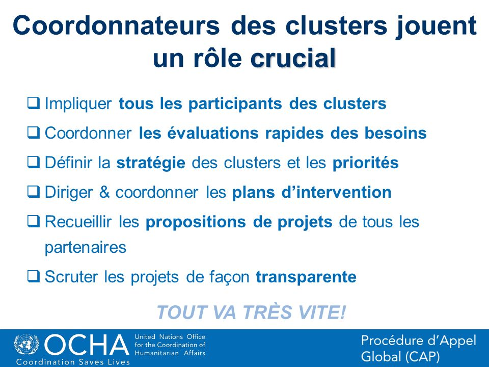 18Office for the Coordination of Humanitarian Affairs (OCHA) CAP (Consolidated Appeal Process) Section crucial Coordonnateurs des clusters jouent un r