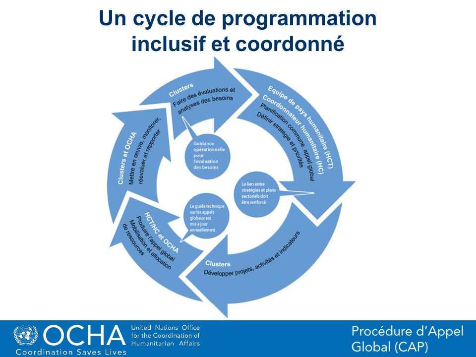 33Office for the Coordination of Humanitarian Affairs (OCHA) CAP (Consolidated Appeal Process) Section Un cycle de programmation inclusif et coordonné