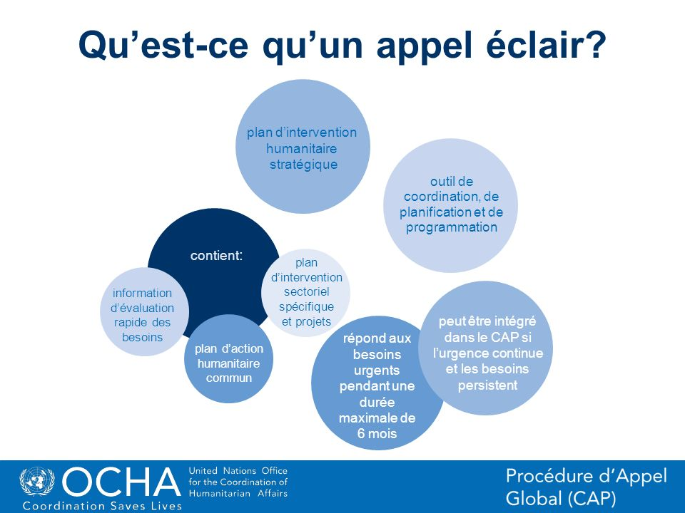 37Office for the Coordination of Humanitarian Affairs (OCHA) CAP (Consolidated Appeal Process) Section Quest-ce quun appel éclair? plan dintervention