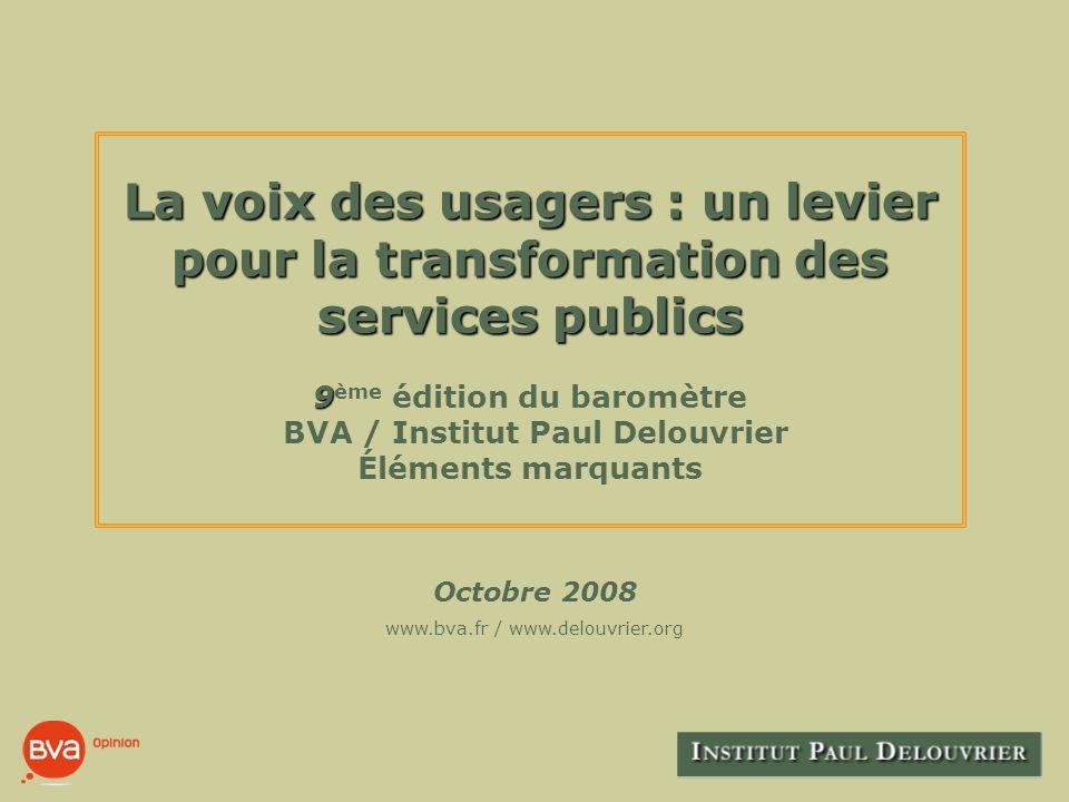 Octobre 2008 BVA - I NSTITUT P AUL D ELOUVRIER 12 II.1.