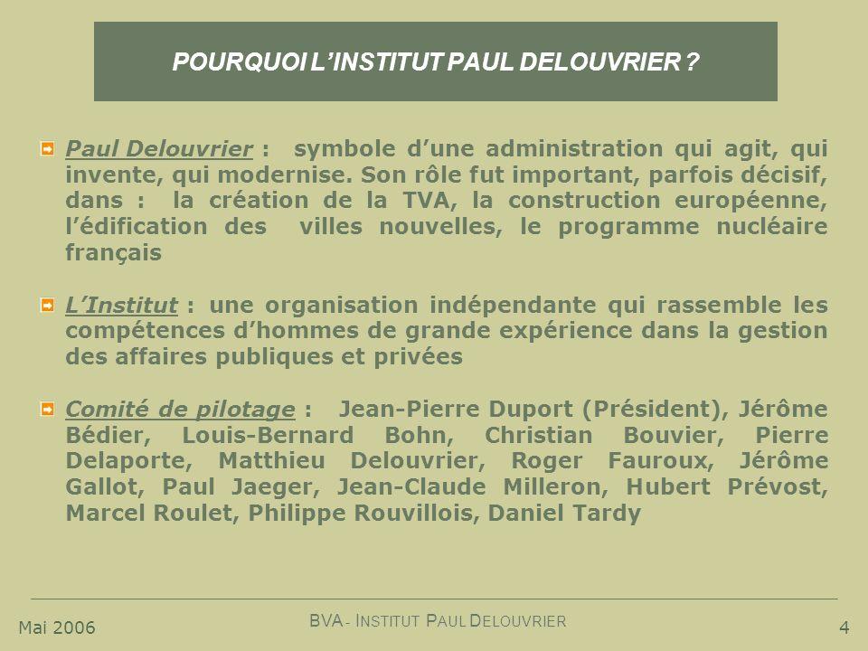 Mai 2006 BVA - I NSTITUT P AUL D ELOUVRIER 4 POURQUOI LINSTITUT PAUL DELOUVRIER ? Paul Delouvrier :symbole dune administration qui agit, qui invente,