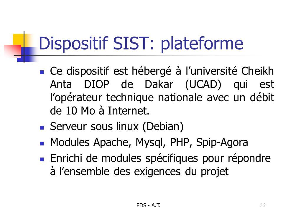 FDS - A.T.11 Dispositif SIST: plateforme Ce dispositif est hébergé à luniversité Cheikh Anta DIOP de Dakar (UCAD) qui est lopérateur technique nationa