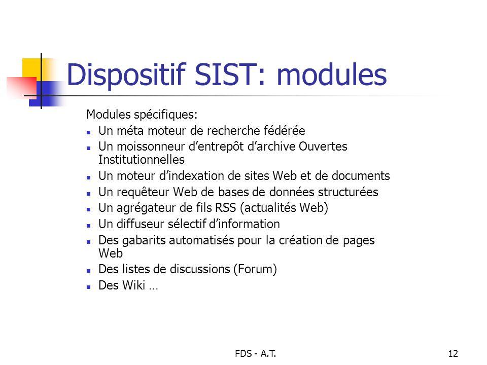 FDS - A.T.12 Dispositif SIST: modules Modules spécifiques: Un méta moteur de recherche fédérée Un moissonneur dentrepôt darchive Ouvertes Institutionn