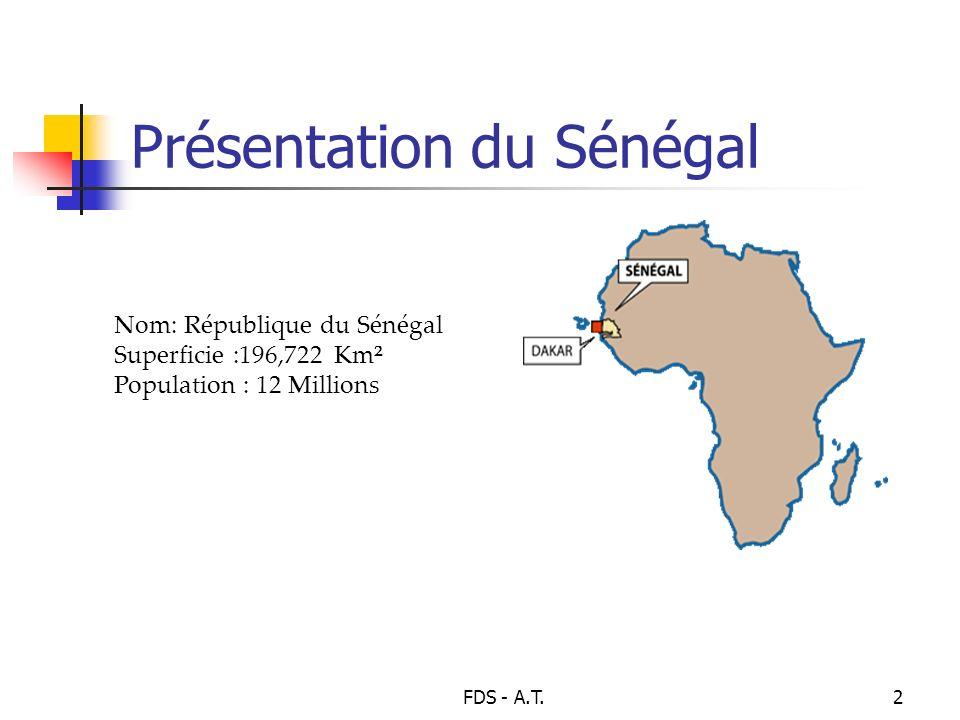 FDS - A.T.2 Présentation du Sénégal Nom: République du Sénégal Superficie :196,722 Km² Population : 12 Millions
