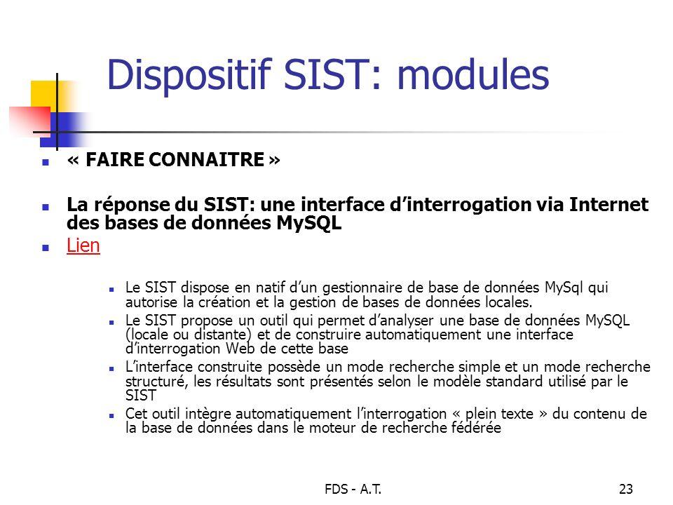 FDS - A.T.23 Dispositif SIST: modules « FAIRE CONNAITRE » La réponse du SIST: une interface dinterrogation via Internet des bases de données MySQL Lie