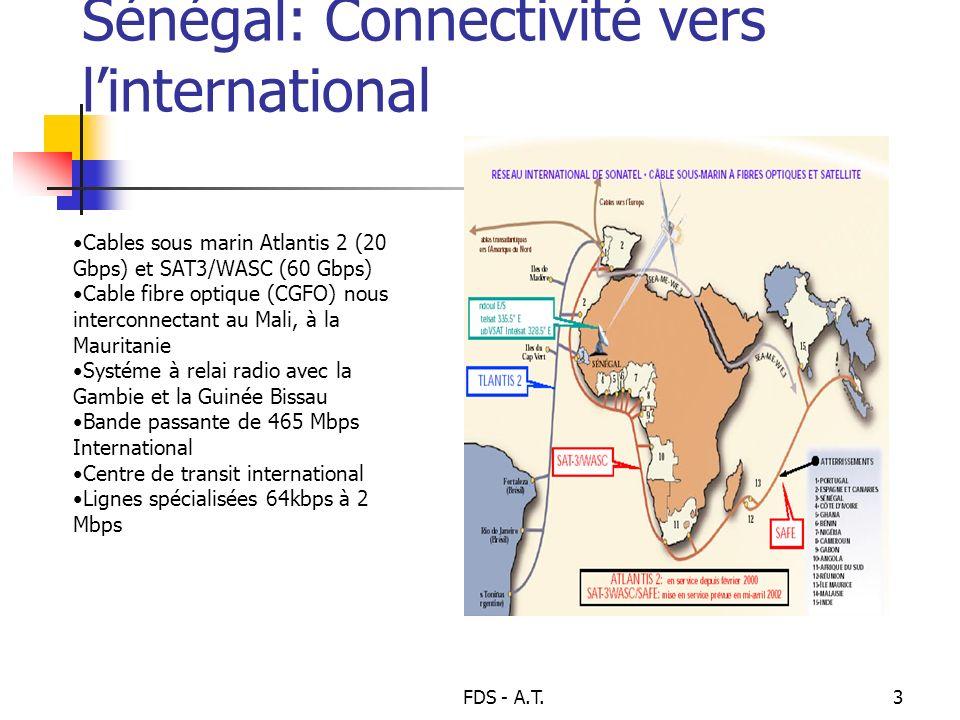 FDS - A.T.3 Sénégal: Connectivité vers linternational Cables sous marin Atlantis 2 (20 Gbps) et SAT3/WASC (60 Gbps) Cable fibre optique (CGFO) nous in