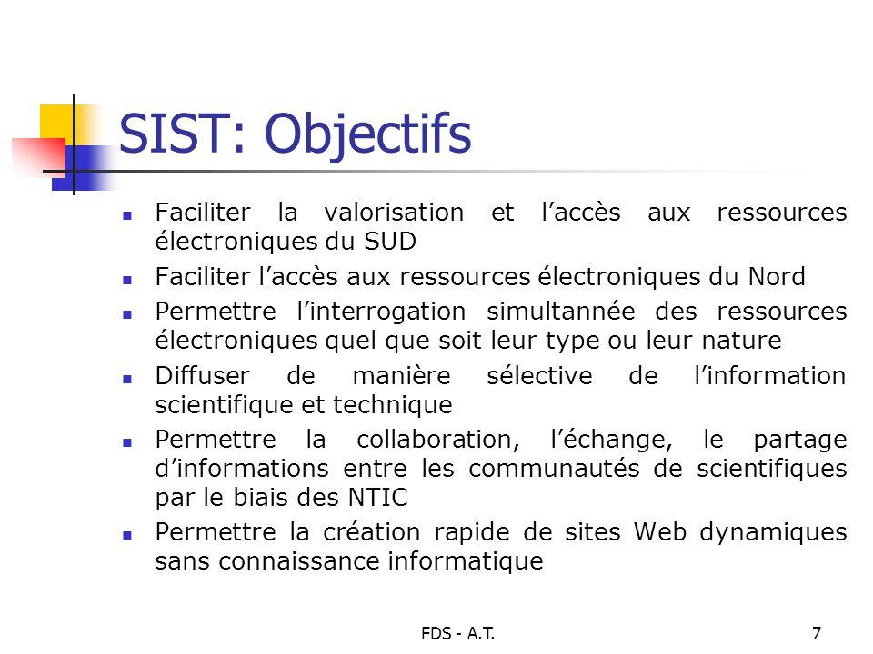 FDS - A.T.7 SIST: Objectifs Faciliter la valorisation et laccès aux ressources électroniques du SUD Faciliter laccès aux ressources électroniques du N