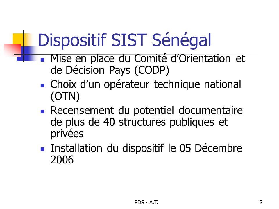 FDS - A.T.8 Dispositif SIST Sénégal Mise en place du Comité dOrientation et de Décision Pays (CODP) Choix dun opérateur technique national (OTN) Recen