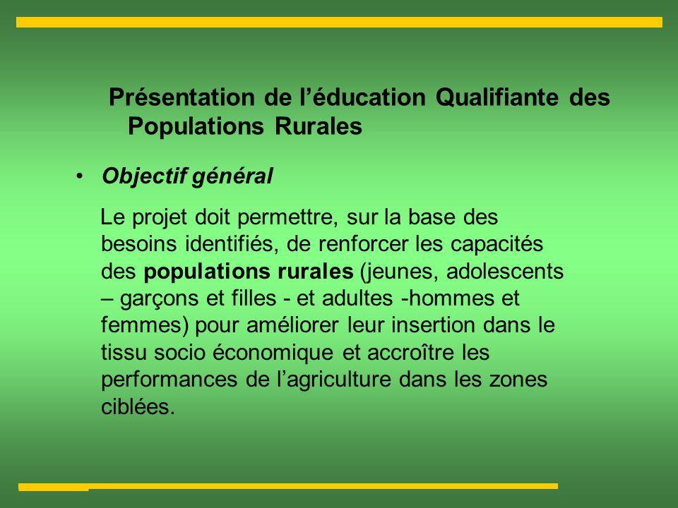 Présentation de léducation Qualifiante des Populations Rurales Objectif général Le projet doit permettre, sur la base des besoins identifiés, de renfo