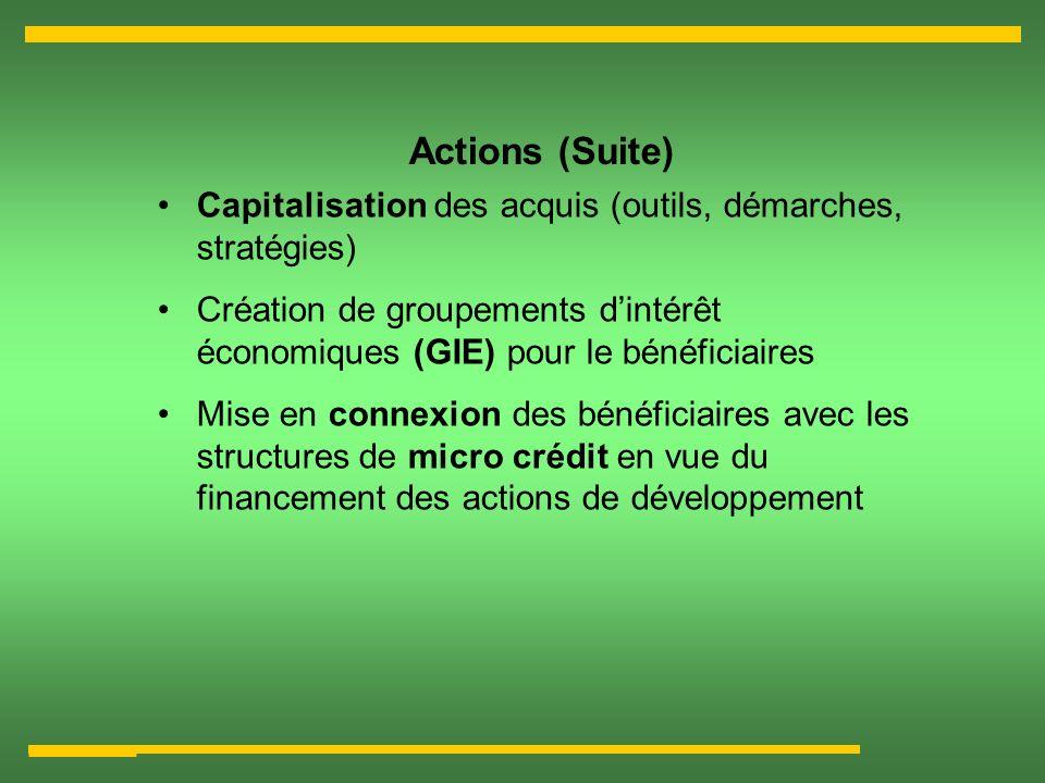 Actions (Suite) Capitalisation des acquis (outils, démarches, stratégies) Création de groupements dintérêt économiques (GIE) pour le bénéficiaires Mis