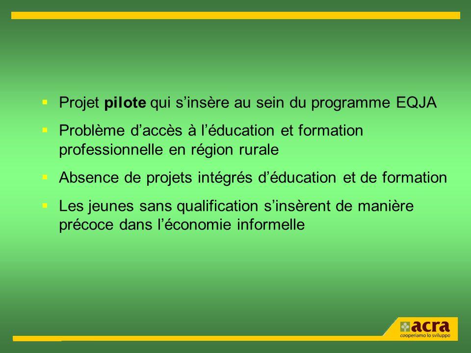 Projet pilote qui sinsère au sein du programme EQJA Problème daccès à léducation et formation professionnelle en région rurale Absence de projets inté