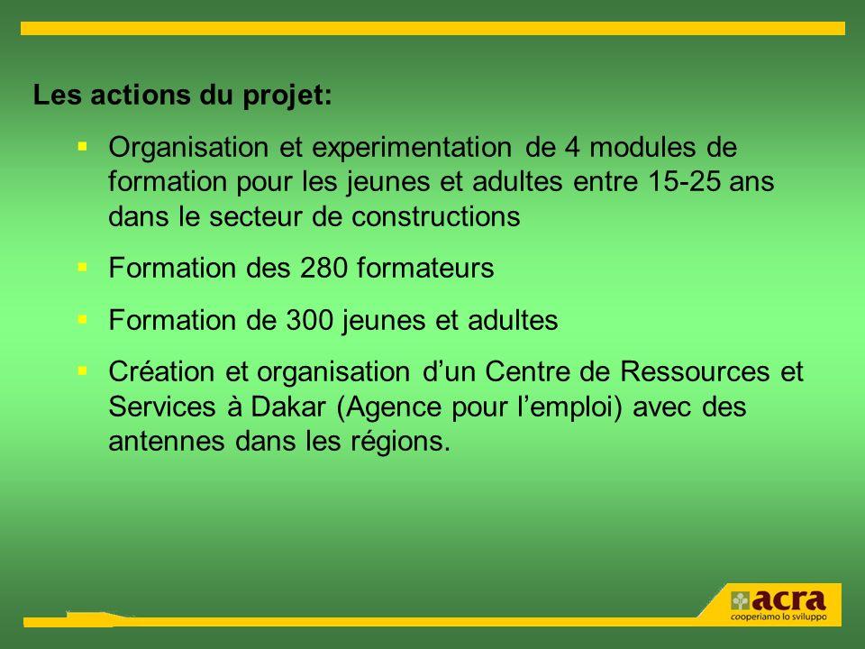Les actions du projet: Organisation et experimentation de 4 modules de formation pour les jeunes et adultes entre 15-25 ans dans le secteur de constru