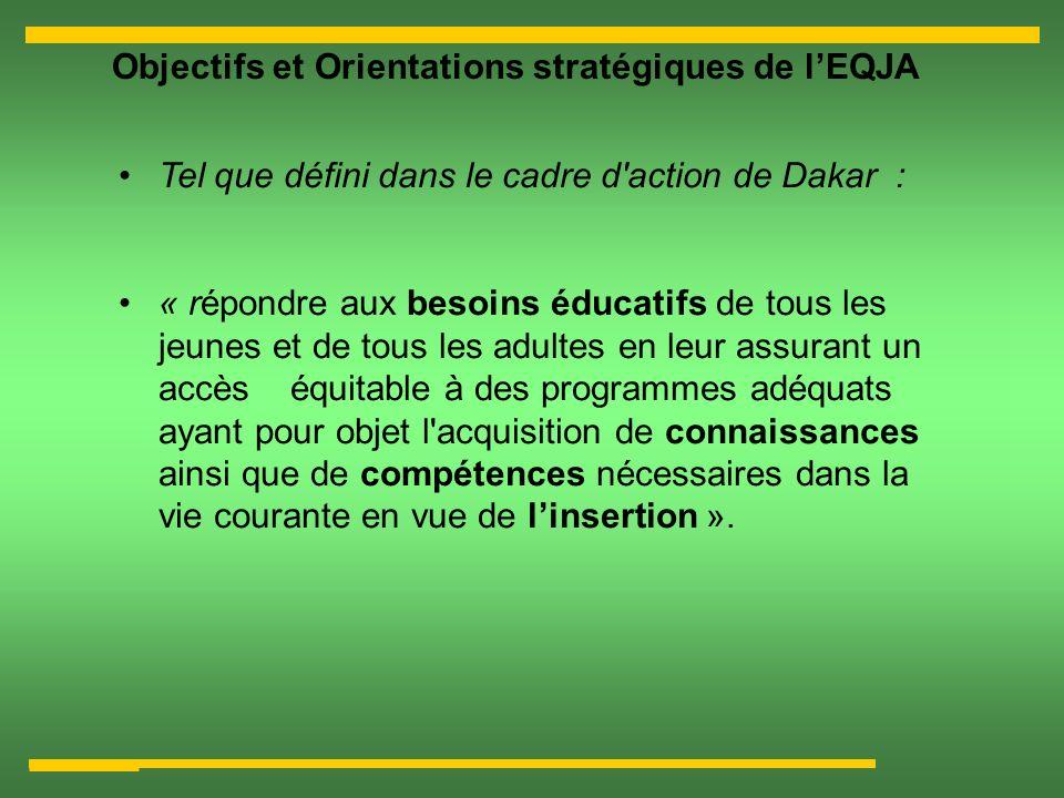 Objectifs et Orientations stratégiques de lEQJA Tel que défini dans le cadre d'action de Dakar : « répondre aux besoins éducatifs de tous les jeunes e