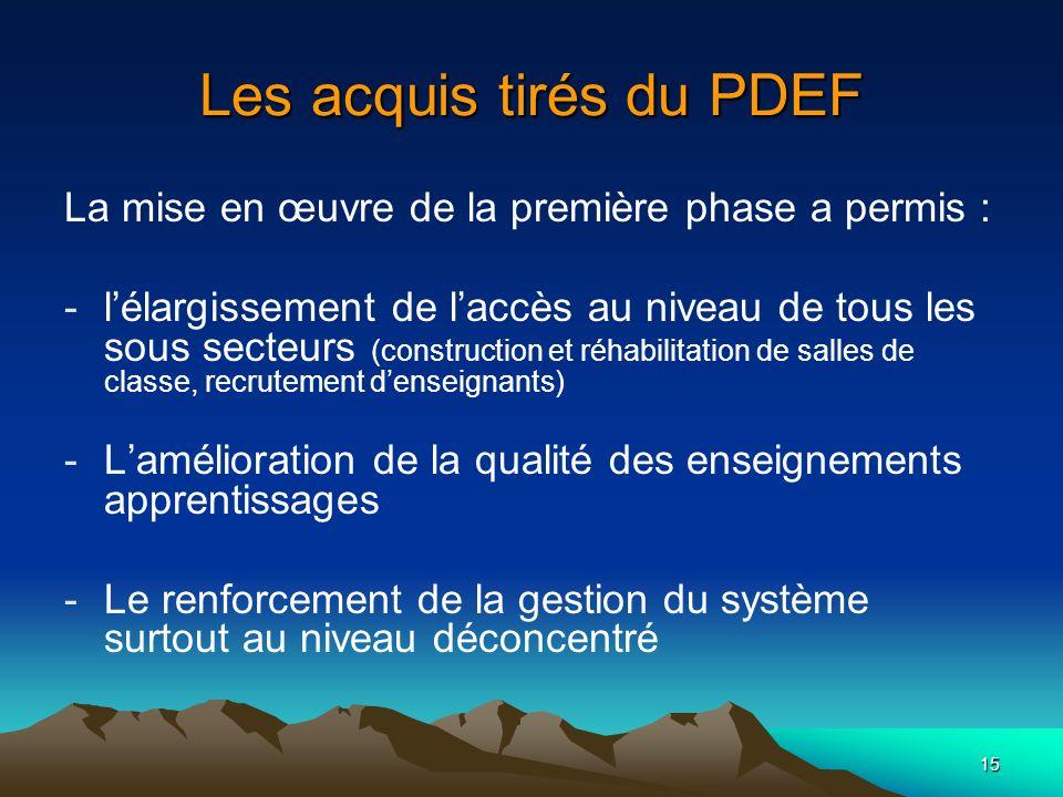 15 Les acquis tirés du PDEF La mise en œuvre de la première phase a permis : -lélargissement de laccès au niveau de tous les sous secteurs (constructi