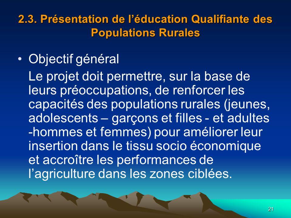 21 2.3. Présentation de léducation Qualifiante des Populations Rurales Objectif général Le projet doit permettre, sur la base de leurs préoccupations,