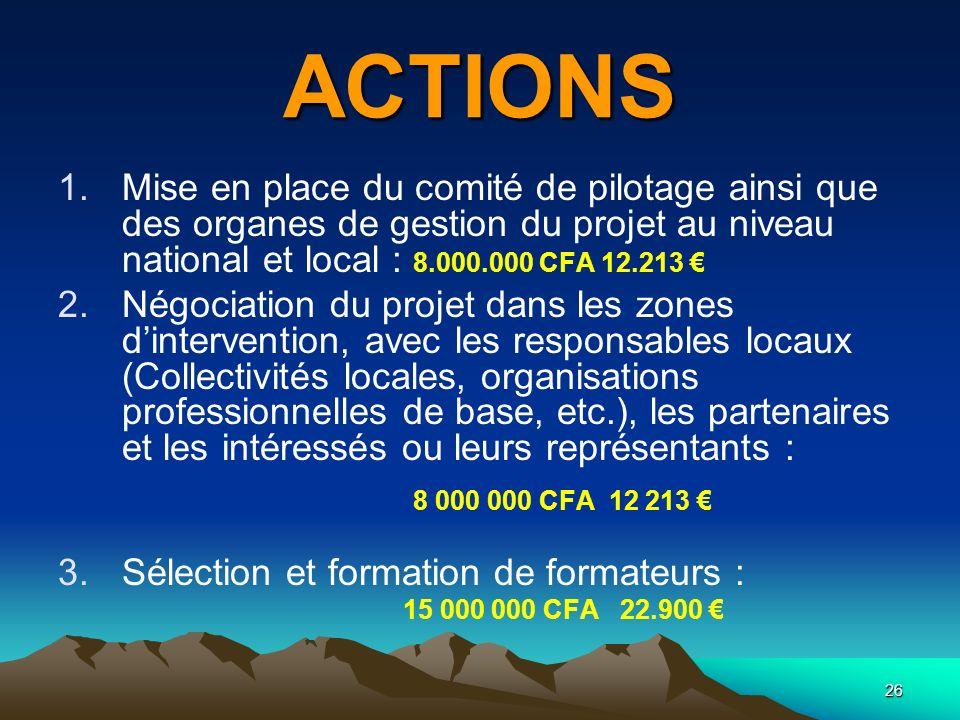 26 ACTIONS 1.Mise en place du comité de pilotage ainsi que des organes de gestion du projet au niveau national et local : 8.000.000 CFA 12.213 2.Négoc