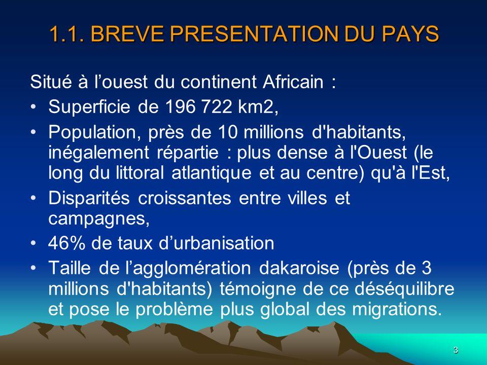 3 1.1. BREVE PRESENTATION DU PAYS Situé à louest du continent Africain : Superficie de 196 722 km2, Population, près de 10 millions d'habitants, inéga