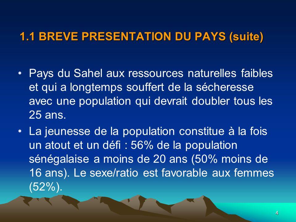 4 1.1 BREVE PRESENTATION DU PAYS (suite) Pays du Sahel aux ressources naturelles faibles et qui a longtemps souffert de la sécheresse avec une populat