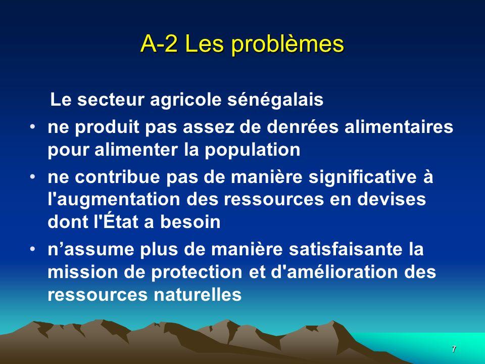 7 A-2 Les problèmes Le secteur agricole sénégalais ne produit pas assez de denrées alimentaires pour alimenter la population ne contribue pas de maniè