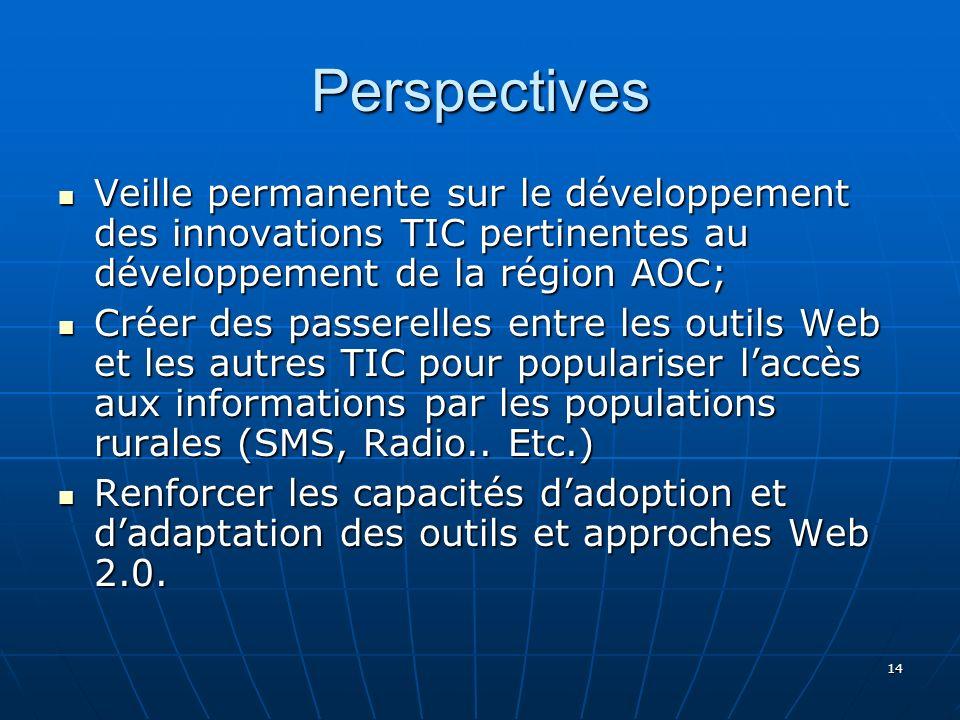 14 Perspectives Veille permanente sur le développement des innovations TIC pertinentes au développement de la région AOC; Veille permanente sur le développement des innovations TIC pertinentes au développement de la région AOC; Créer des passerelles entre les outils Web et les autres TIC pour populariser laccès aux informations par les populations rurales (SMS, Radio..