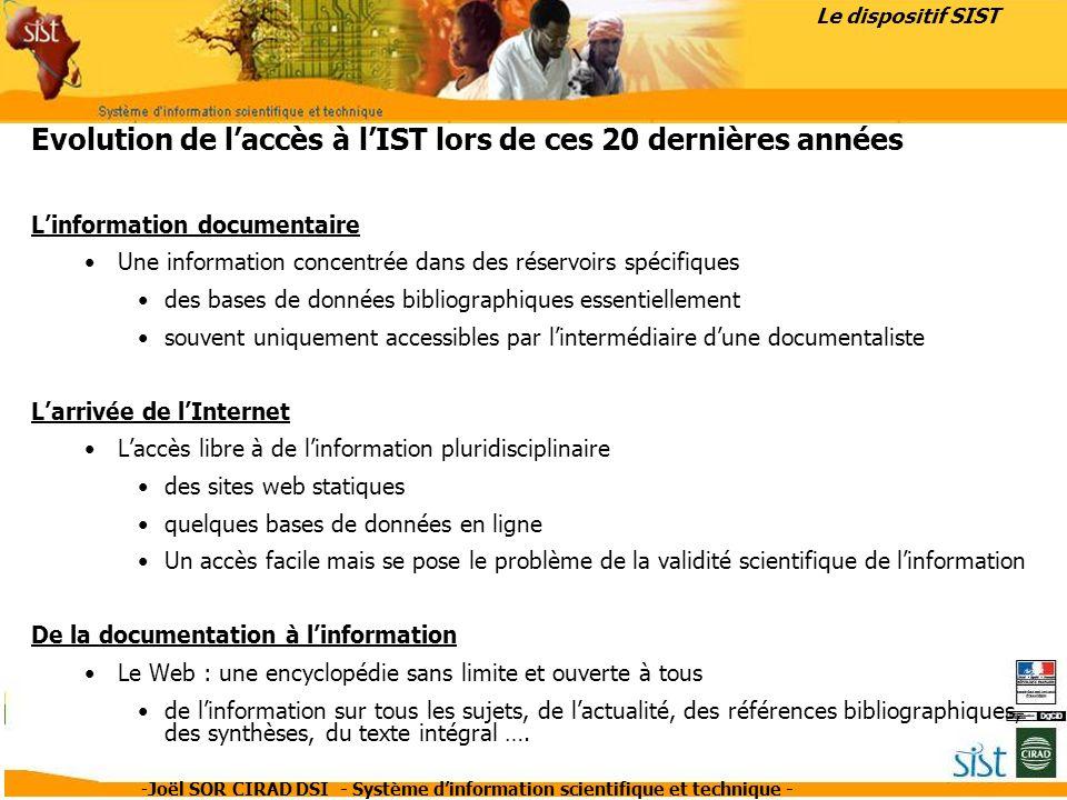 -Joël SOR CIRAD DSI - Système dinformation scientifique et technique - Où trouver linformation aujourdhui .