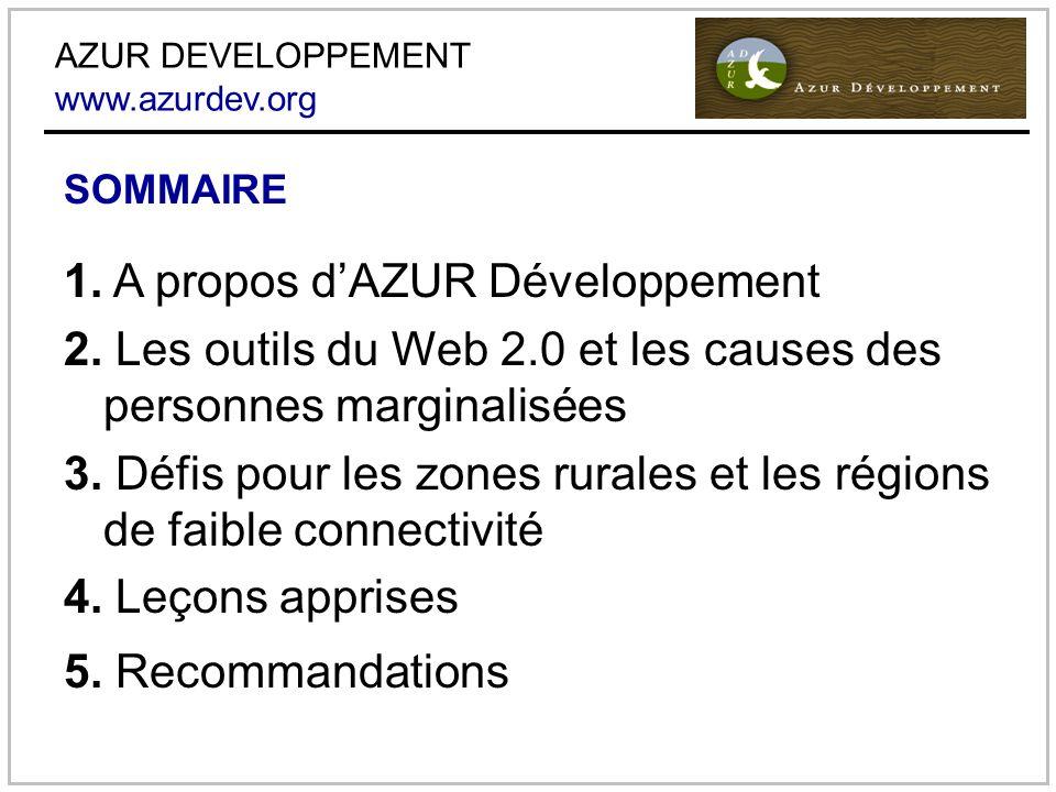 AZUR DEVELOPPEMENT www.azurdev.org 1. A propos dAZUR Développement 2.