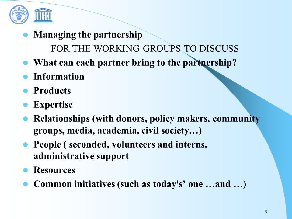 8 Managing the partnership FOR THE WORKING GROUPS TO DISCUSS What can each partner bring to the partnership.