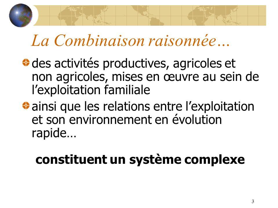 3 La Combinaison raisonnée… des activités productives, agricoles et non agricoles, mises en œuvre au sein de lexploitation familiale ainsi que les relations entre lexploitation et son environnement en évolution rapide… constituent un système complexe