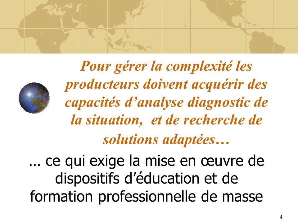 4 Pour gérer la complexité les producteurs doivent acquérir des capacités danalyse diagnostic de la situation, et de recherche de solutions adaptées… … ce qui exige la mise en œuvre de dispositifs déducation et de formation professionnelle de masse