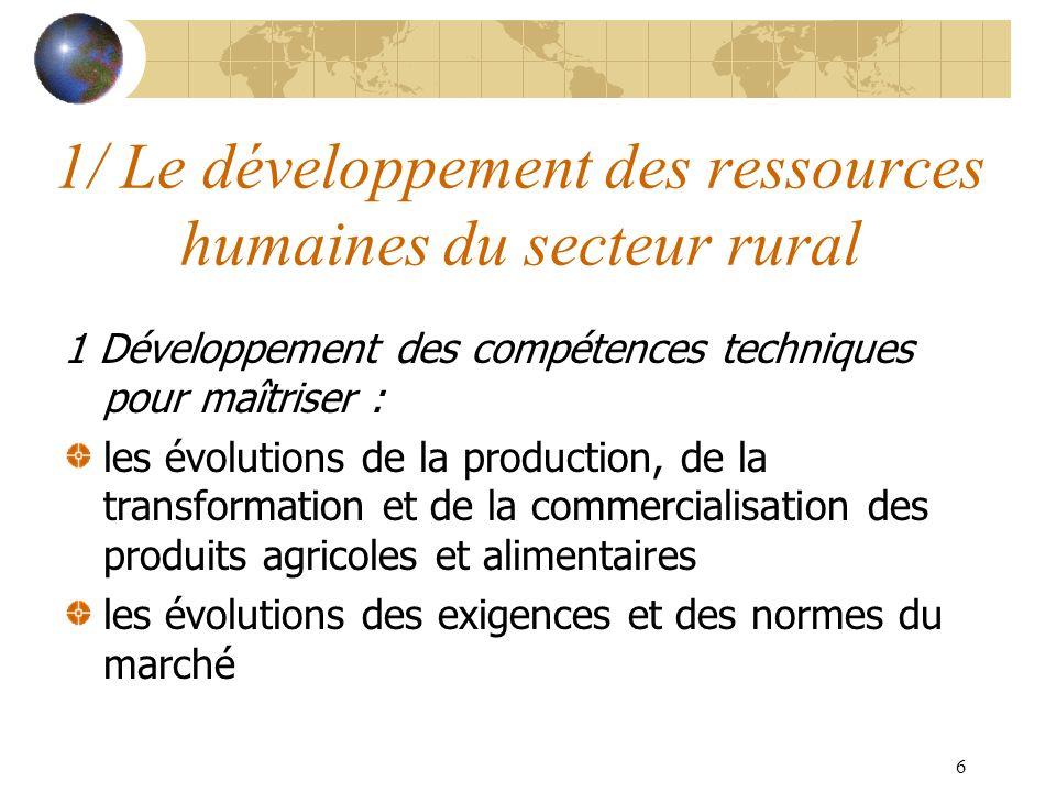 6 1/ Le développement des ressources humaines du secteur rural 1 Développement des compétences techniques pour maîtriser : les évolutions de la production, de la transformation et de la commercialisation des produits agricoles et alimentaires les évolutions des exigences et des normes du marché