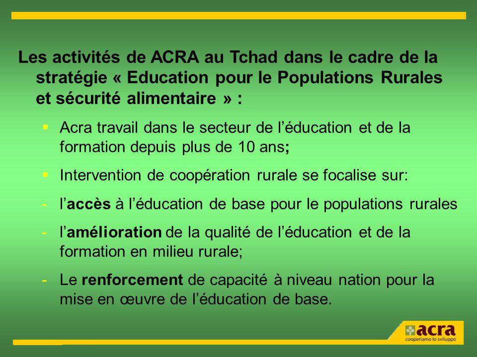 Les activités de ACRA au Tchad dans le cadre de la stratégie « Education pour le Populations Rurales et sécurité alimentaire » : Acra travail dans le secteur de léducation et de la formation depuis plus de 10 ans; Intervention de coopération rurale se focalise sur: -laccès à léducation de base pour le populations rurales -lamélioration de la qualité de léducation et de la formation en milieu rurale; -Le renforcement de capacité à niveau nation pour la mise en œuvre de léducation de base.