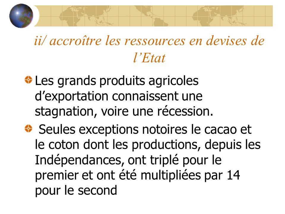 ii/ accroître les ressources en devises de lEtat Les grands produits agricoles dexportation connaissent une stagnation, voire une récession. Seules ex