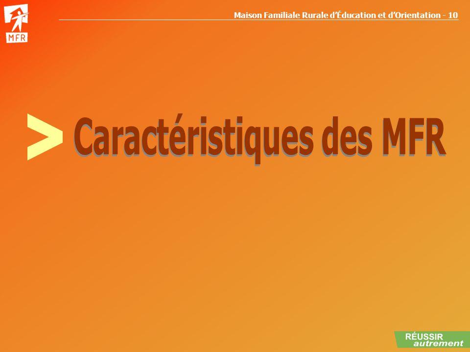 Maison Familiale Rurale dÉducation et dOrientation - 10 CARACTERISTIQUES